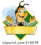 Worker Bee Character Logo Mascot Over A Blank Banner On A Green Diamond