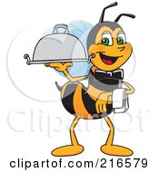 Royalty Free RF Clipart Illustration Of A Worker Bee Character Mascot Serving A Platter by Toons4Biz