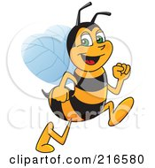 Royalty Free RF Clipart Illustration Of A Worker Bee Character Mascot Running by Toons4Biz