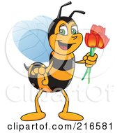 Worker Bee Character Mascot Holding Tulips