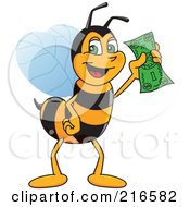 Royalty Free RF Clipart Illustration Of A Worker Bee Character Mascot Holding Cash by Toons4Biz