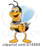Royalty Free RF Clipart Illustration Of A Worker Bee Character Mascot Pointing Outwards by Toons4Biz