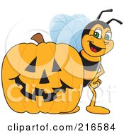 Royalty Free RF Clipart Illustration Of A Worker Bee Character Mascot By A Halloween Pumpkin