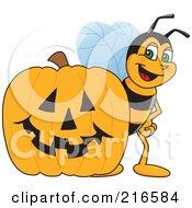 Worker Bee Character Mascot By A Halloween Pumpkin