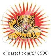 Royalty Free RF Clipart Illustration Of An Aggressive Tiger Swiping His Paw