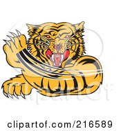 Royalty Free RF Clipart Illustration Of An Attacking Tiger Swiping His Paw