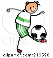 Royalty Free RF Clipart Illustration Of A Childs Sketch Of A Boy Playing Soccer 1 by Prawny