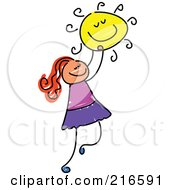 Royalty Free RF Clipart Illustration Of A Childs Sketch Of A Girl Holding The Sun