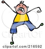 Royalty Free RF Clipart Illustration Of A Childs Sketch Of A Stressed Boy