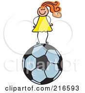 Royalty Free RF Clipart Illustration Of A Childs Sketch Of A Girl Standing On A Soccer Ball by Prawny
