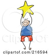 Royalty Free RF Clipart Illustration Of A Childs Sketch Of A Boy Holding A Yellow Star