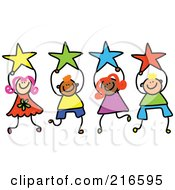 Royalty Free RF Clipart Illustration Of A Childs Sketch Of A Group Of Kids Holding Stars 2