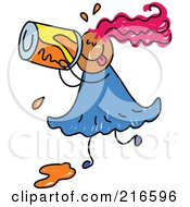 Royalty Free RF Clipart Illustration Of A Childs Sketch Of A Girl Drinking Soda