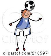 Royalty Free RF Clipart Illustration Of A Childs Sketch Of A Boy Playing Soccer 4