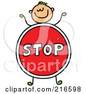 Royalty Free RF Clipart Illustration Of A Childs Sketch Of A Boy With A Stop Sign Body