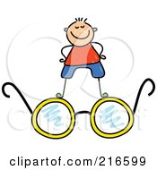 Royalty Free RF Clipart Illustration Of A Childs Sketch Of A Boy Standing On Glasses