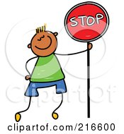 Royalty Free RF Clipart Illustration Of A Childs Sketch Of A Boy Standing With A Stop Sign