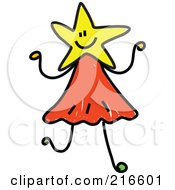Royalty Free RF Clipart Illustration Of A Childs Sketch Of A Girl With A Yellow Star Head