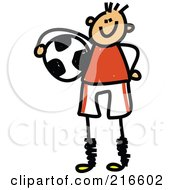 Royalty Free RF Clipart Illustration Of A Childs Sketch Of A Soccer Boy 2