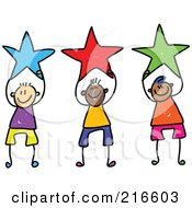 Royalty Free RF Clipart Illustration Of A Childs Sketch Of Boys Holding Stars
