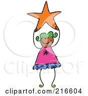 Royalty Free RF Clipart Illustration Of A Childs Sketch Of A Girl Holding An Orange Star
