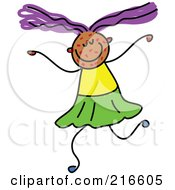 Royalty Free RF Clipart Illustration Of A Childs Sketch Of A Girl With Spots On Her Face