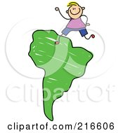 Royalty Free RF Clipart Illustration Of A Childs Sketch Of A Boy On A Green South Africa Map by Prawny