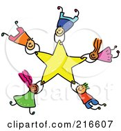 Royalty Free RF Clipart Illustration Of A Childs Sketch Of A Group Of Kids Falling With A Star by Prawny #COLLC216607-0089