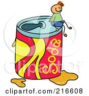 Royalty Free RF Clipart Illustration Of A Childs Sketch Of A Boy Sitting On A Giant Soda Can