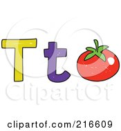 Royalty Free RF Clipart Illustration Of A Childs Sketch Of A Lowercase And Capital Letter T With A Tomato