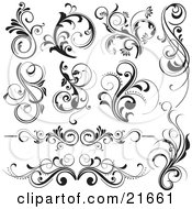 Clipart Picture Illustration Of A Collection Of 10 Floral Vines And Flourishes In Black And White by OnFocusMedia