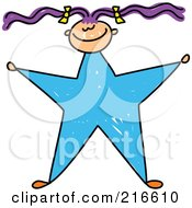 Royalty Free RF Clipart Illustration Of A Childs Sketch Of A Girl With A Blue Star Body
