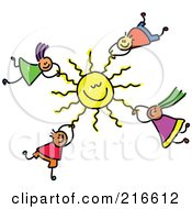 Royalty Free RF Clipart Illustration Of A Childs Sketch Of Kids Hanging Onto A Sun