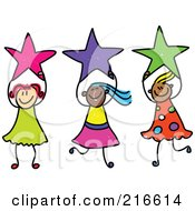 Royalty Free RF Clipart Illustration Of A Childs Sketch Of Girls Holding Stars