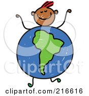 Royalty Free RF Clipart Illustration Of A Childs Sketch Of A Boy With A South American Globe Body
