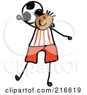 Royalty Free RF Clipart Illustration Of A Childs Sketch Of A Boy Playing Soccer 3