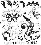 Clipart Picture Illustration Of A Collection Of Black And White Leaves Flourishes And Butterflies Over White