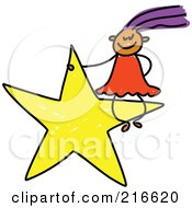Royalty Free RF Clipart Illustration Of A Childs Sketch Of A Girl Sitting On A Yellow Star