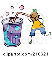 Royalty Free RF Clipart Illustration Of A Childs Sketch Of A Boy Drinking A Huge Soda