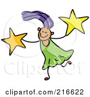 Royalty Free RF Clipart Illustration Of A Childs Sketch Of A Girl Carrying Stars