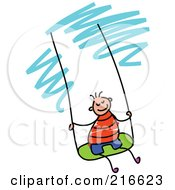 Royalty Free RF Clipart Illustration Of A Childs Sketch Of A Boy Swinging