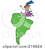 Royalty Free RF Clipart Illustration Of A Childs Sketch Of A Girl On A South American Map by Prawny
