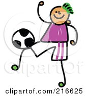 Royalty Free RF Clipart Illustration Of A Childs Sketch Of A Soccer Boy 4