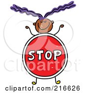 Royalty Free RF Clipart Illustration Of A Childs Sketch Of A Girl With A Stop Sign Body
