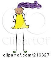 Royalty Free RF Clipart Illustration Of A Childs Sketch Of A Girl With Long Legs