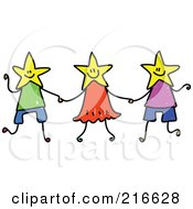Royalty Free RF Clipart Illustration Of A Childs Sketch Of A Group Of Kids With Star Heads