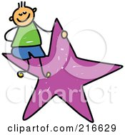 Royalty Free RF Clipart Illustration Of A Childs Sketch Of A Boy Sitting On A Purple Star
