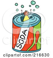 Royalty Free RF Clipart Illustration Of A Childs Sketch Of A Boy In A Giant Soda Can