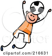 Royalty Free RF Clipart Illustration Of A Childs Sketch Of A Boy Playing Soccer 2 by Prawny