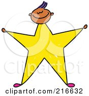 Royalty Free RF Clipart Illustration Of A Childs Sketch Of A Boy With A Yellow Star Body